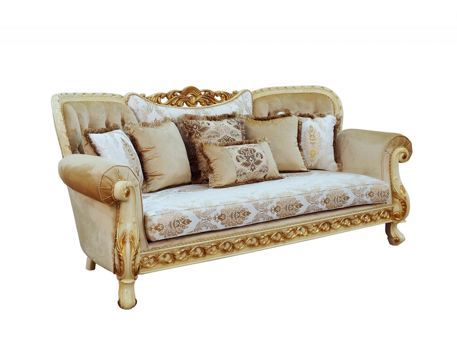 Classic  Traditional Gold  Sand  Off-White Wood  Solid Hardwood and Fabric Sofa EUROPEAN FURNITURE 40015-S