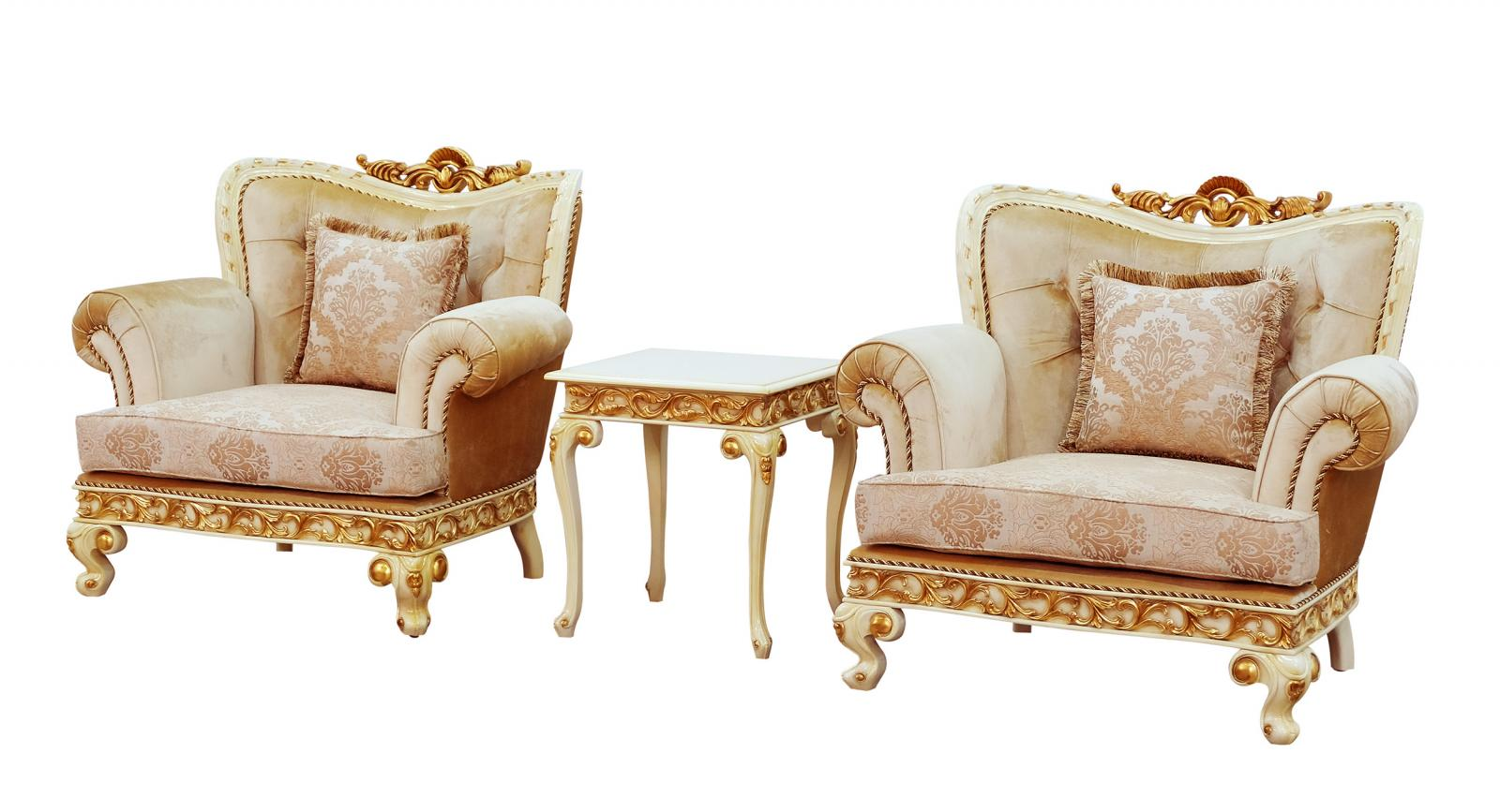 Classic  Traditional Gold  Sand  Off-White Wood  Solid Hardwood and Fabric Arm Chair Set EUROPEAN FURNITURE 40015-C-Set-2