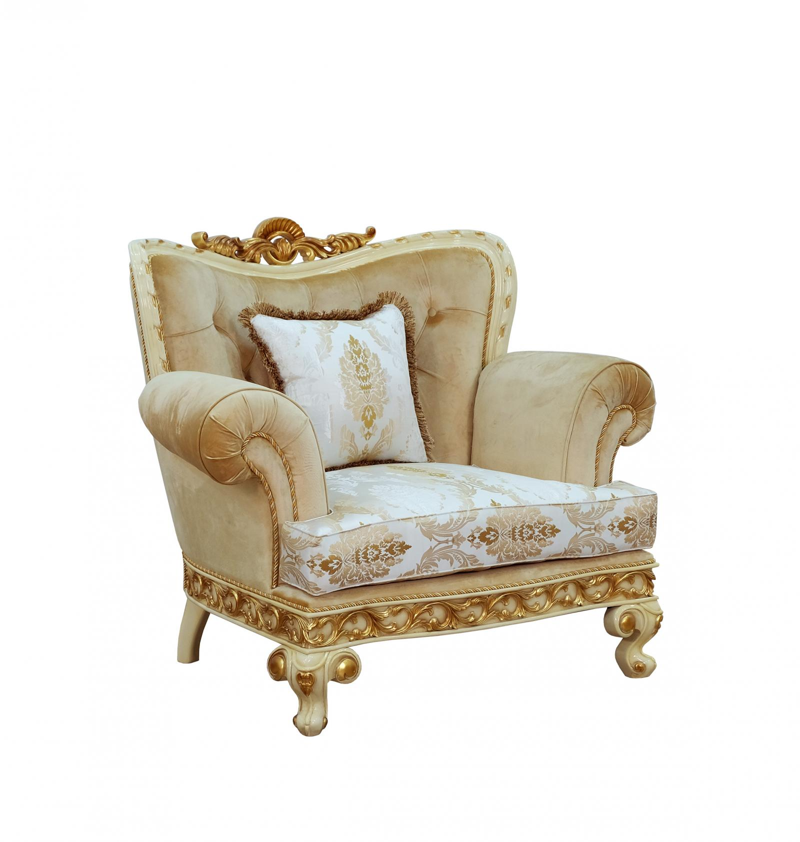 Classic  Traditional Gold  Sand  Off-White Wood  Solid Hardwood and Fabric Arm Chair EUROPEAN FURNITURE 40015-C