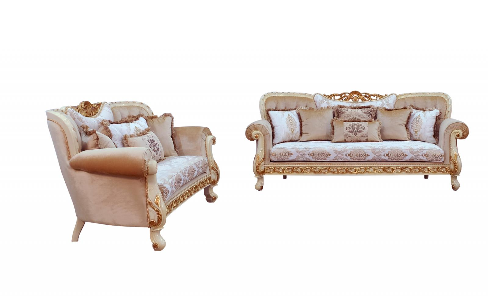 Classic  Traditional Gold  Sand  Off-White Wood  Solid Hardwood and Fabric Sofa Set EUROPEAN FURNITURE 40015-S-Set-2