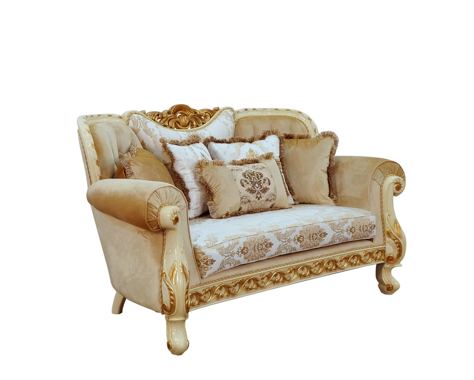 Classic  Traditional Gold  Sand  Off-White Wood  Solid Hardwood and Fabric Loveseat EUROPEAN FURNITURE 40015-L
