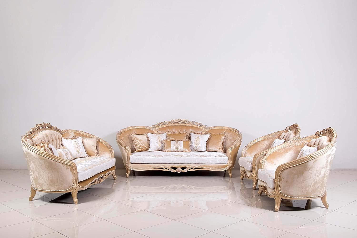 Classic  Traditional Champagne  Cooper  Off-White Wood  Solid Hardwood and Fabric Sofa Set EUROPEAN FURNITURE 45001-S-Set-4