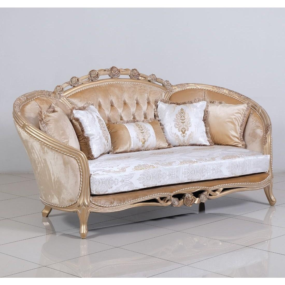 Classic  Traditional Champagne  Cooper  Off-White Wood  Solid Hardwood and Fabric Loveseat EUROPEAN FURNITURE 45001-L
