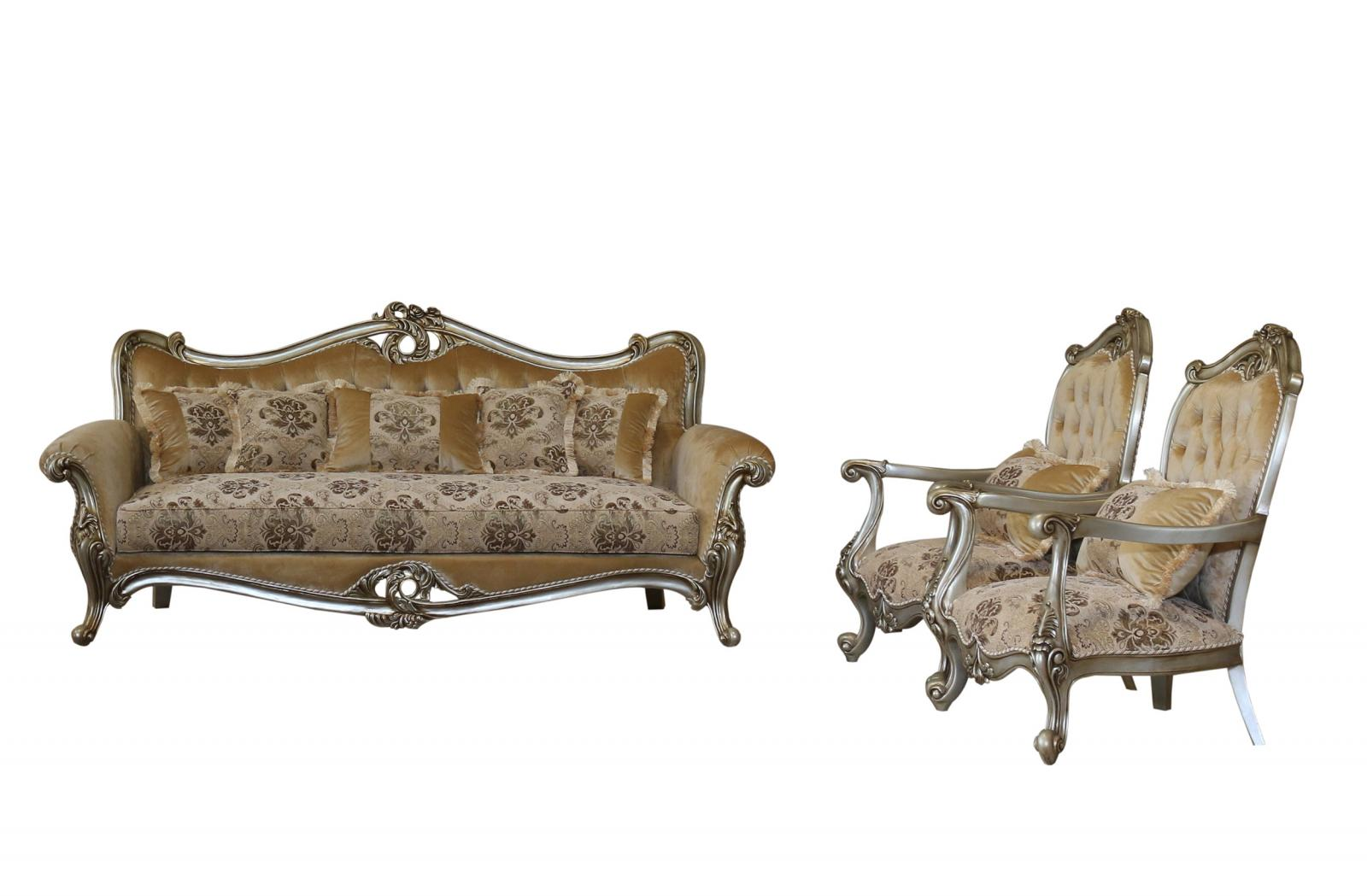 Classic  Traditional Silver  Antique Wood  Solid Hardwood and Fabric Sofa Set EUROPEAN FURNITURE 38066-S-Set-3