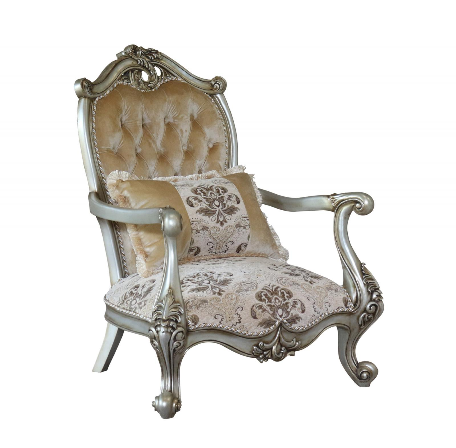 Classic  Traditional Silver  Antique Wood  Solid Hardwood and Fabric Arm Chair Set EUROPEAN FURNITURE 38066-C-Set-2