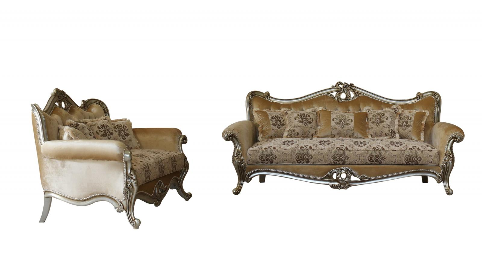 Classic  Traditional Silver  Antique Wood  Solid Hardwood and Fabric Sofa Set EUROPEAN FURNITURE 38066-S-Set-2