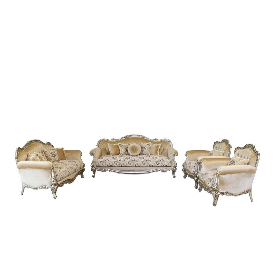 Classic  Traditional Silver  Antique Wood  Solid Hardwood and Fabric Sofa Set EUROPEAN FURNITURE 37055-S-Set-4
