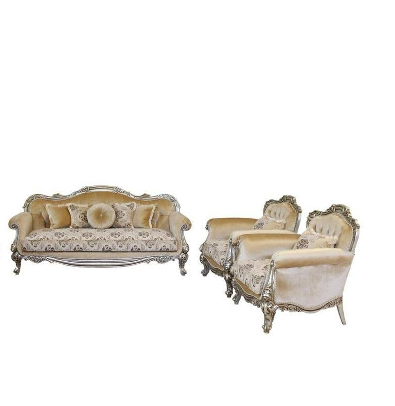 Classic  Traditional Silver  Antique Wood  Solid Hardwood and Fabric Sofa Set EUROPEAN FURNITURE 37055-S-Set-3