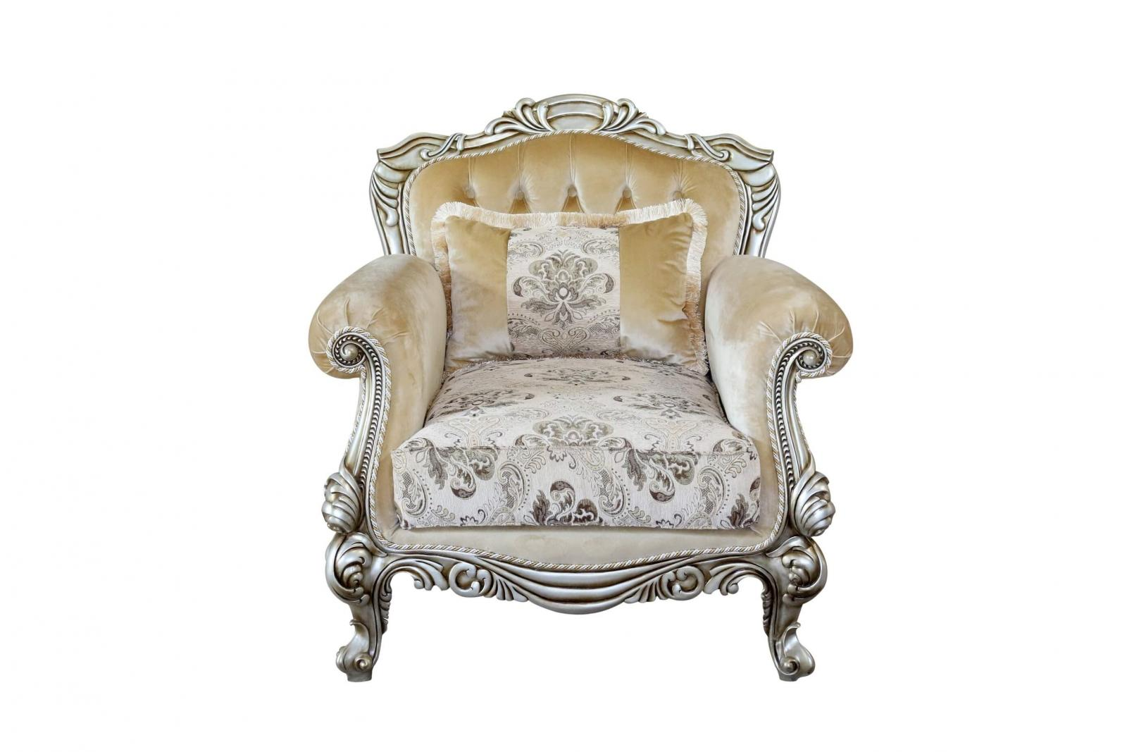 Classic  Traditional Silver  Antique Wood  Solid Hardwood and Fabric Arm Chair Set EUROPEAN FURNITURE 37055-C-Set-2