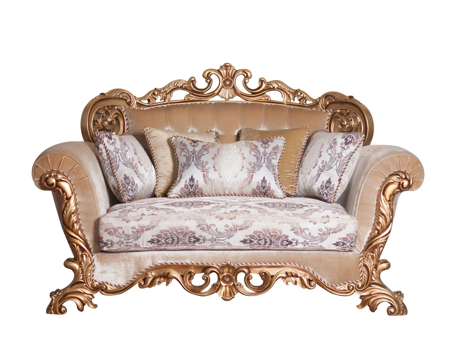 Classic  Traditional Bronze  Antique Wood  Solid Hardwood and Fabric Loveseat EUROPEAN FURNITURE 34013-L