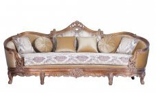 Classic  Traditional Antique  Cooper Wood  Solid Hardwood and Fabric Sofa EUROPEAN FURNITURE 33091-S