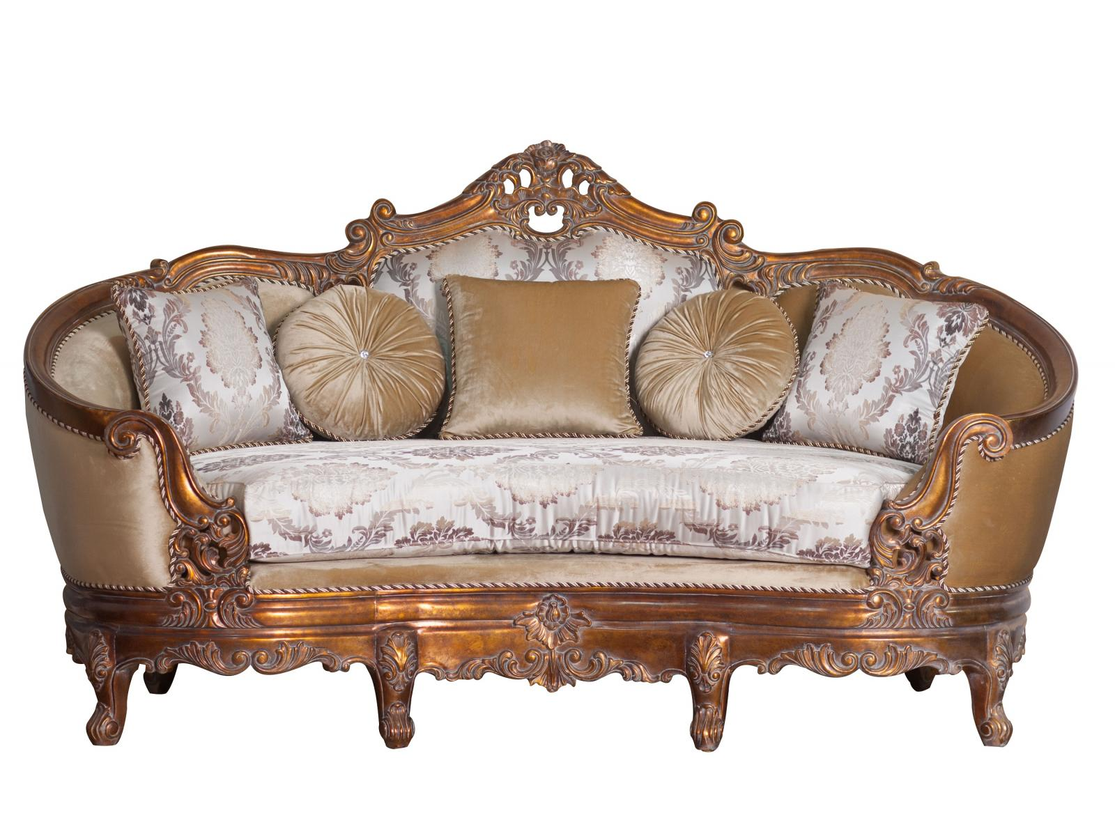 Classic  Traditional Antique  Cooper Wood  Solid Hardwood and Fabric Loveseat EUROPEAN FURNITURE 3091-L