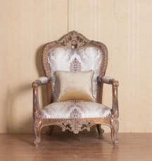 Classic  Traditional Antique  Cooper Wood  Solid Hardwood and Fabric Arm Chairs EUROPEAN FURNITURE 33091-C