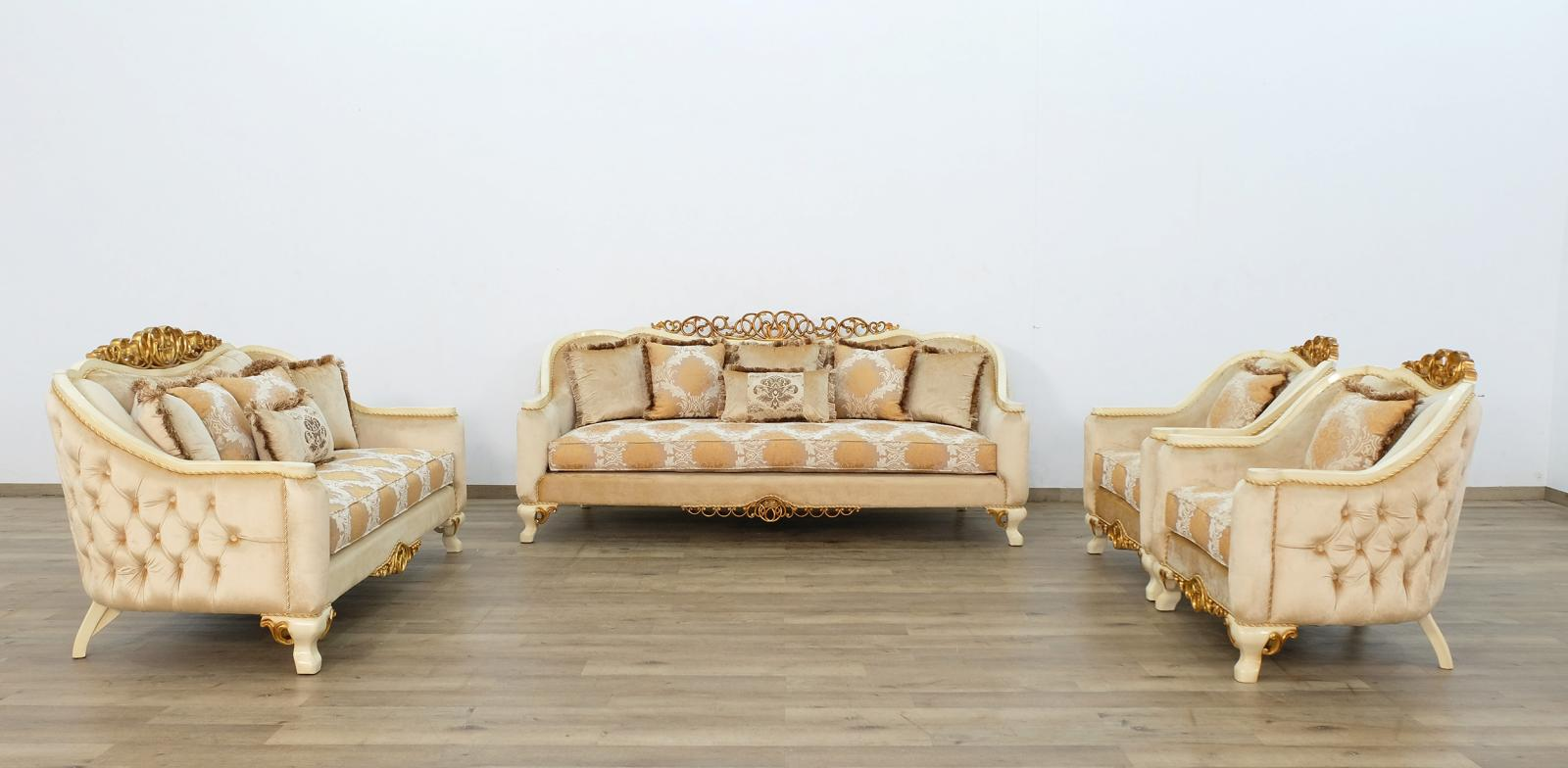 Classic  Traditional Beige  Brown  Gold  Antique Wood  Solid Hardwood and Fabric Sofa Set EUROPEAN FURNITURE 45352-S-Set-4