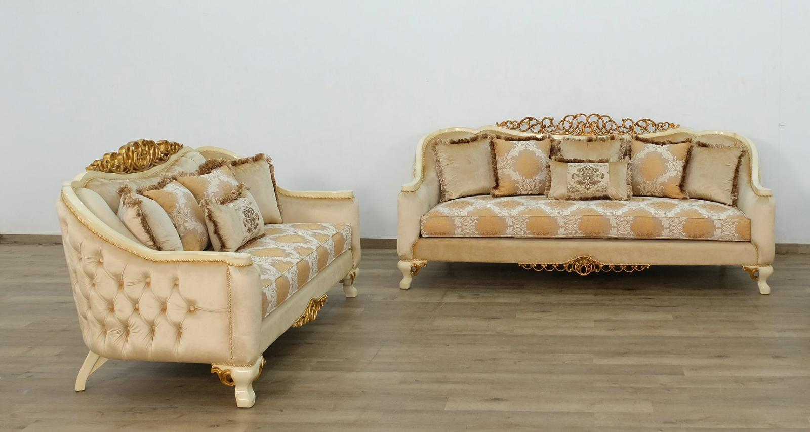 Classic  Traditional Beige  Gold  Antique Wood  Solid Hardwood and Fabric Sofa Set EUROPEAN FURNITURE 45352-S-Set-2