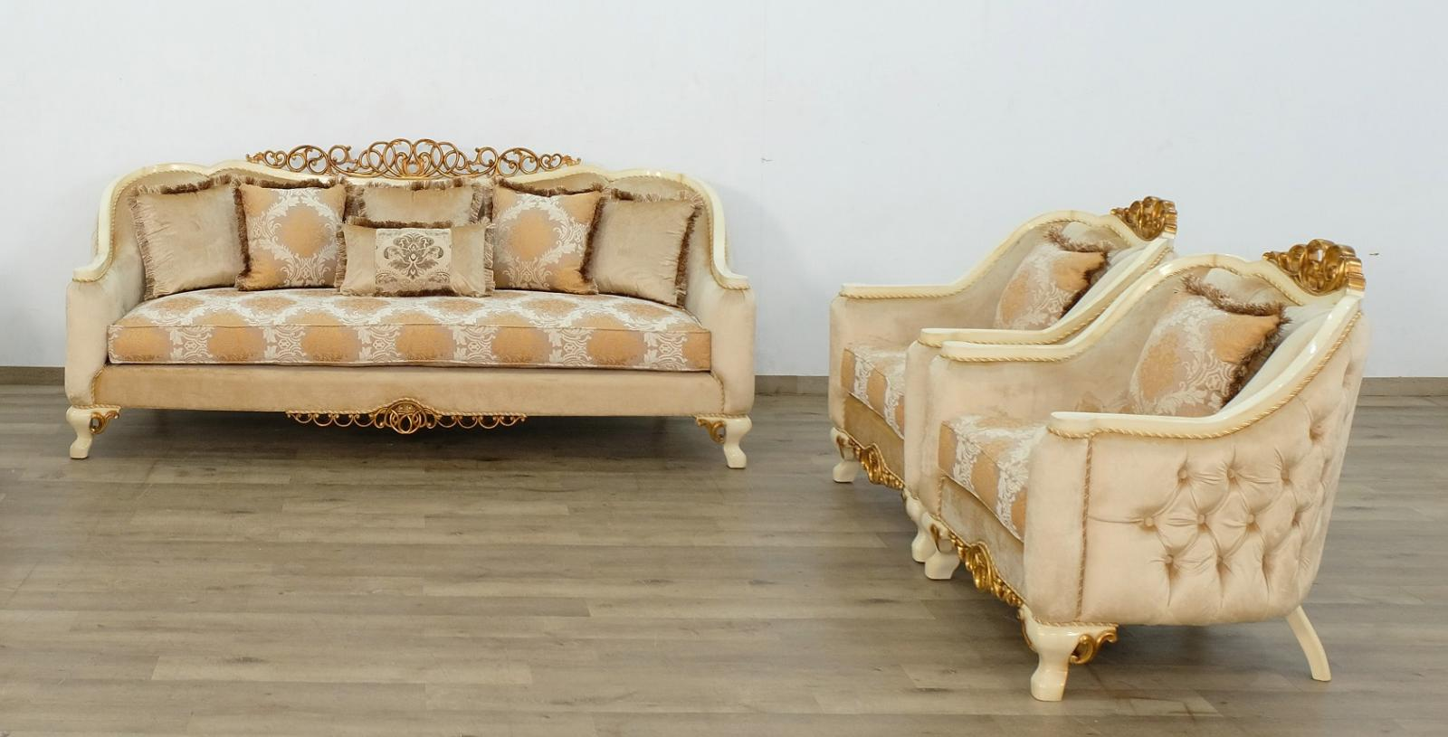 Classic  Traditional Beige  Gold  Antique Wood  Solid Hardwood and Fabric Sofa Set EUROPEAN FURNITURE 45352-S-Set-3