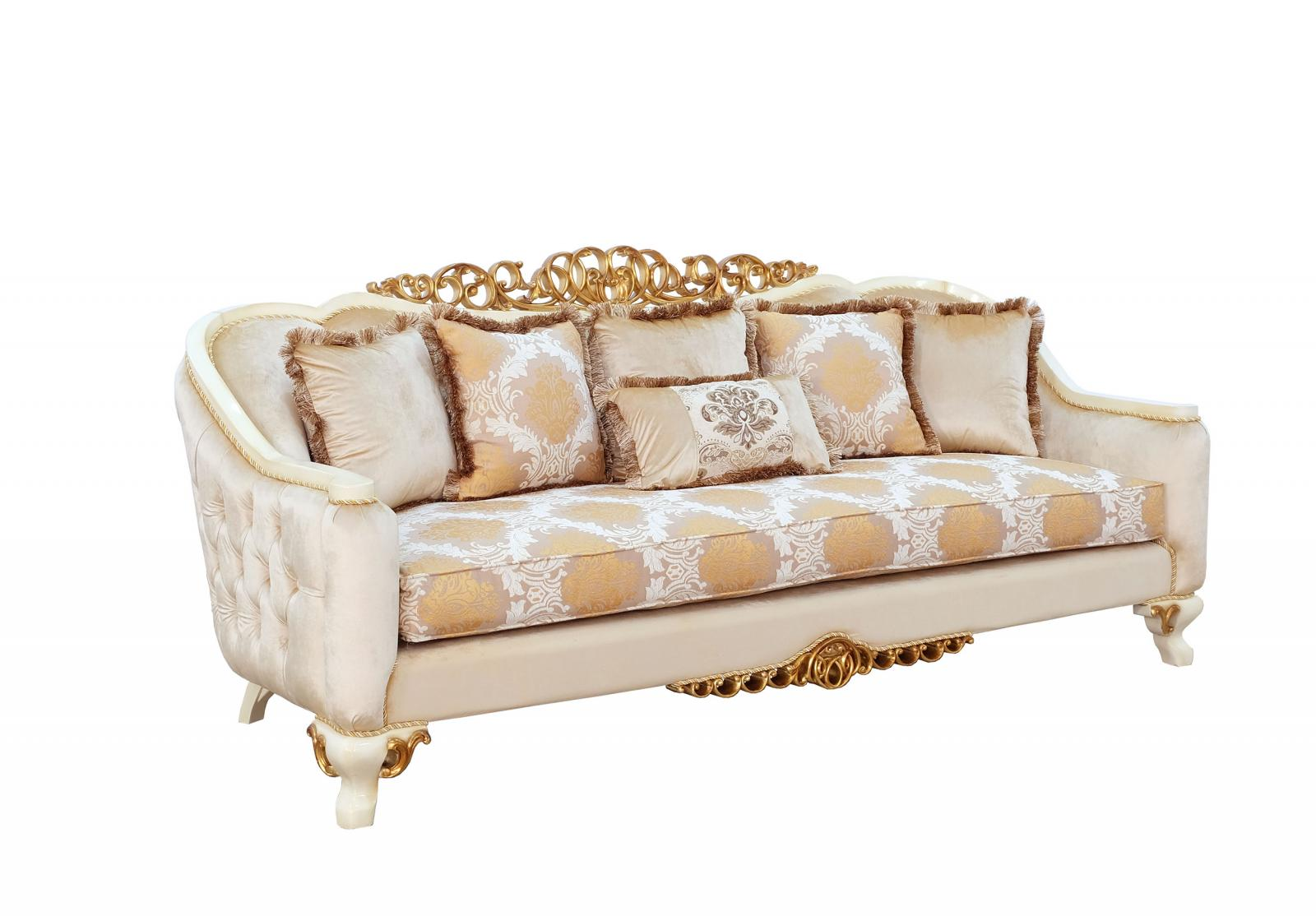 Classic  Traditional Beige  Gold  Antique Wood  Solid Hardwood and Fabric Sofa EUROPEAN FURNITURE 45352-S