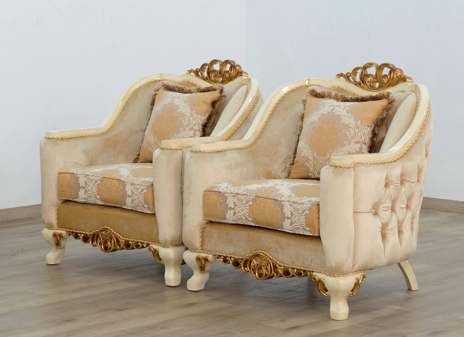Classic  Traditional Beige  Gold  Antique Wood  Solid Hardwood and Fabric Arm Chair Set EUROPEAN FURNITURE 45352-C-Set-2