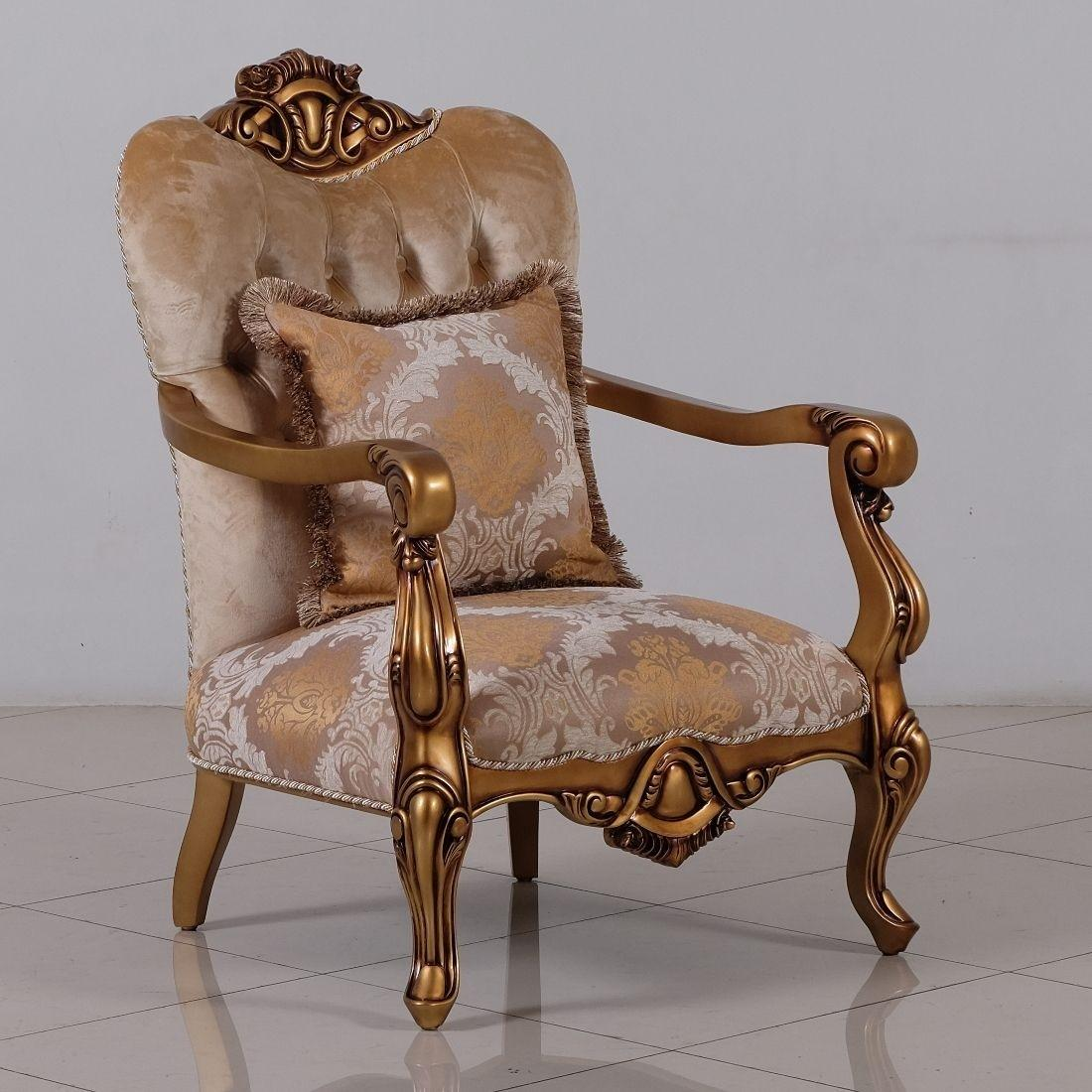 Classic  Traditional Beige  Bronze  Gold Wood  Solid Hardwood and Fabric Arm Chair Set EUROPEAN FURNITURE 4590-C-Set-2