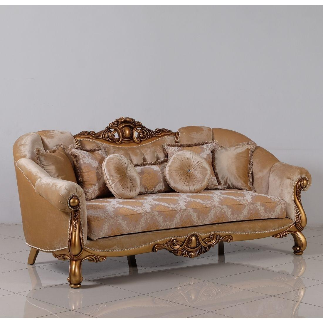 Classic  Traditional Beige  Bronze  Gold Wood  Solid Hardwood and Fabric Sofa EUROPEAN FURNITURE 4590-S