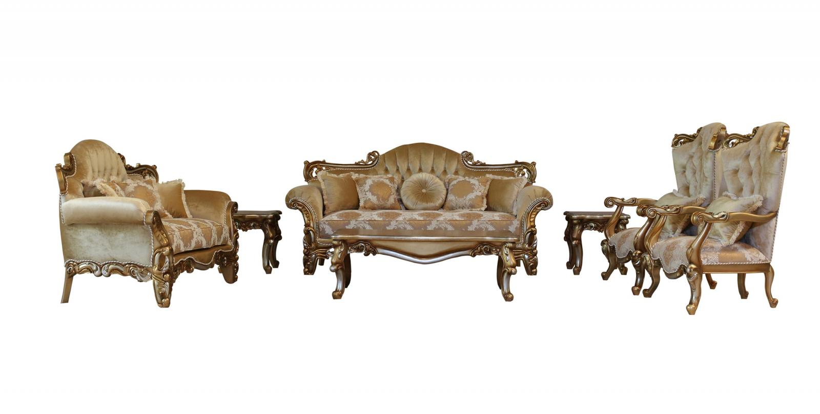 Classic  Traditional Brown  Gold  Silver Wood  Solid Hardwood and Fabric Sofa Set EUROPEAN FURNITURE 43553-S-Set-4