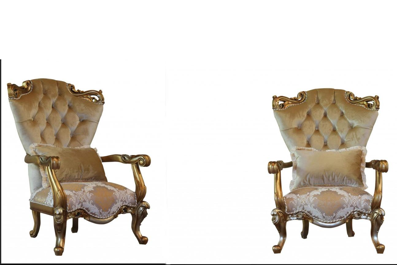 Classic  Traditional Brown  Gold  Silver Wood  Solid Hardwood and Fabric Arm Chair Set EUROPEAN FURNITURE 43553-C-Set-2