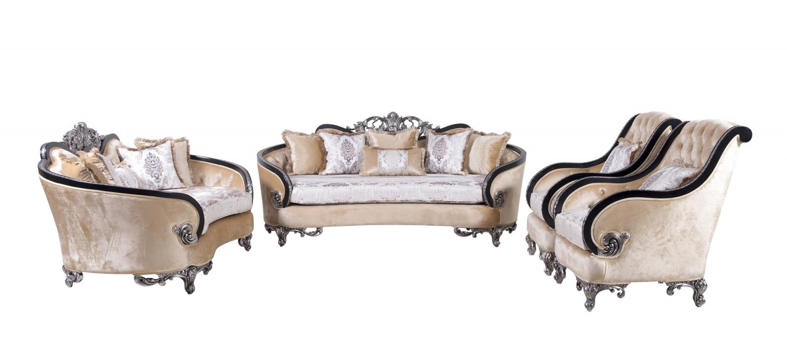 Classic  Traditional Black  Silver  Antique Wood  Solid Hardwood and Fabric Sofa Set EUROPEAN FURNITURE 35022-S-Set-4