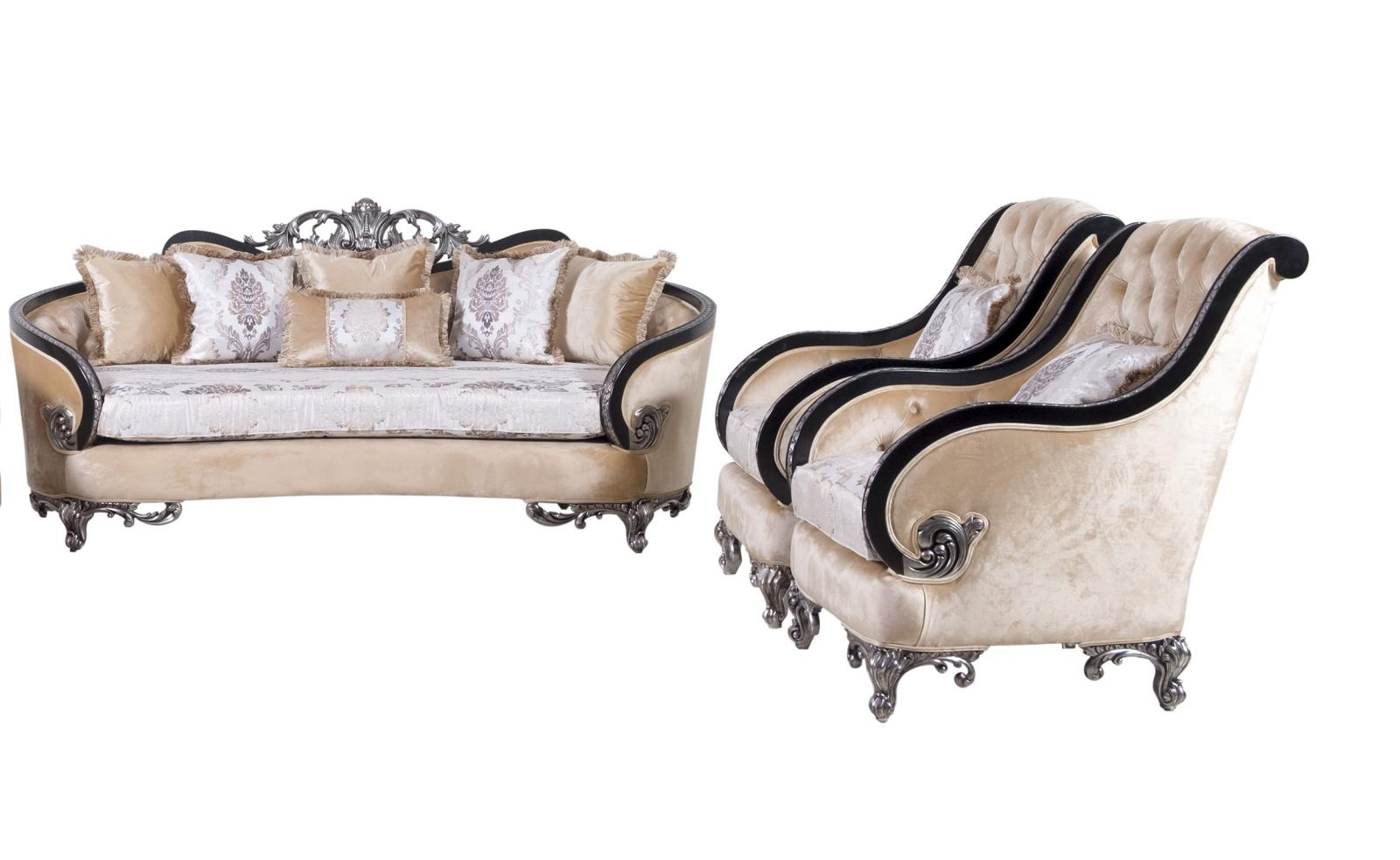 Classic  Traditional Black  Silver  Antique Wood  Solid Hardwood and Fabric Sofa Set EUROPEAN FURNITURE 35022-S-Set-3