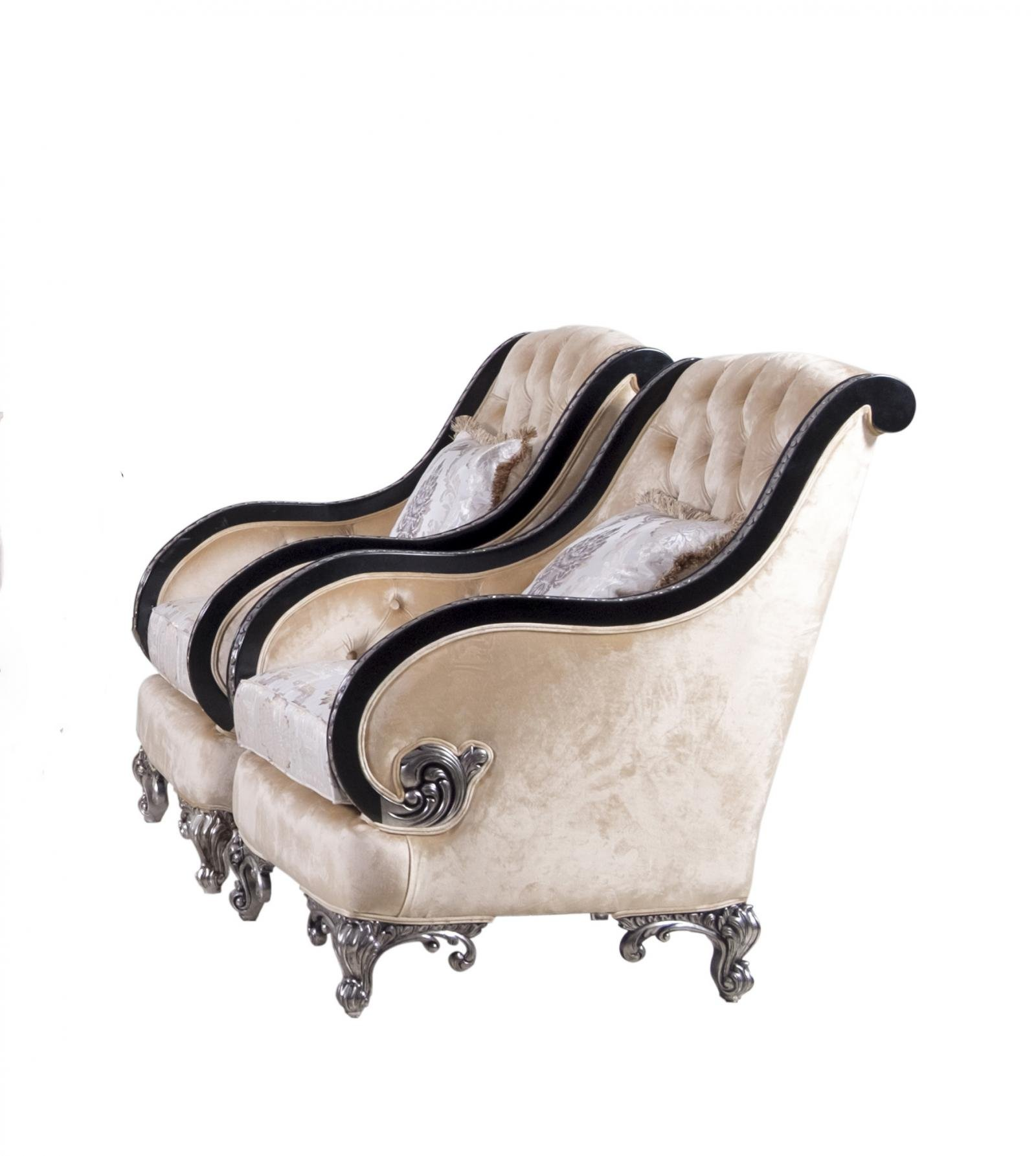 Classic  Traditional Black  Silver  Antique Wood  Solid Hardwood and Fabric Arm Chair Set EUROPEAN FURNITURE 35022-C -Set-2