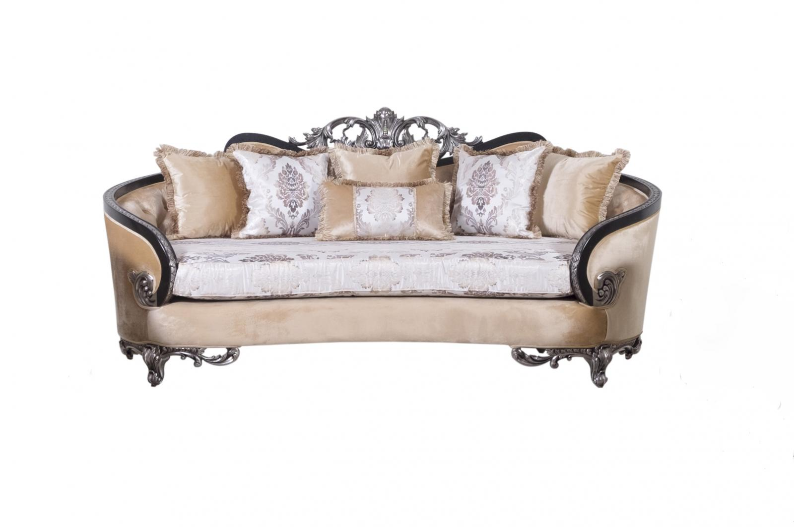 Classic  Traditional Black  Silver  Antique Wood  Solid Hardwood and Fabric Sofa EUROPEAN FURNITURE 35022-S