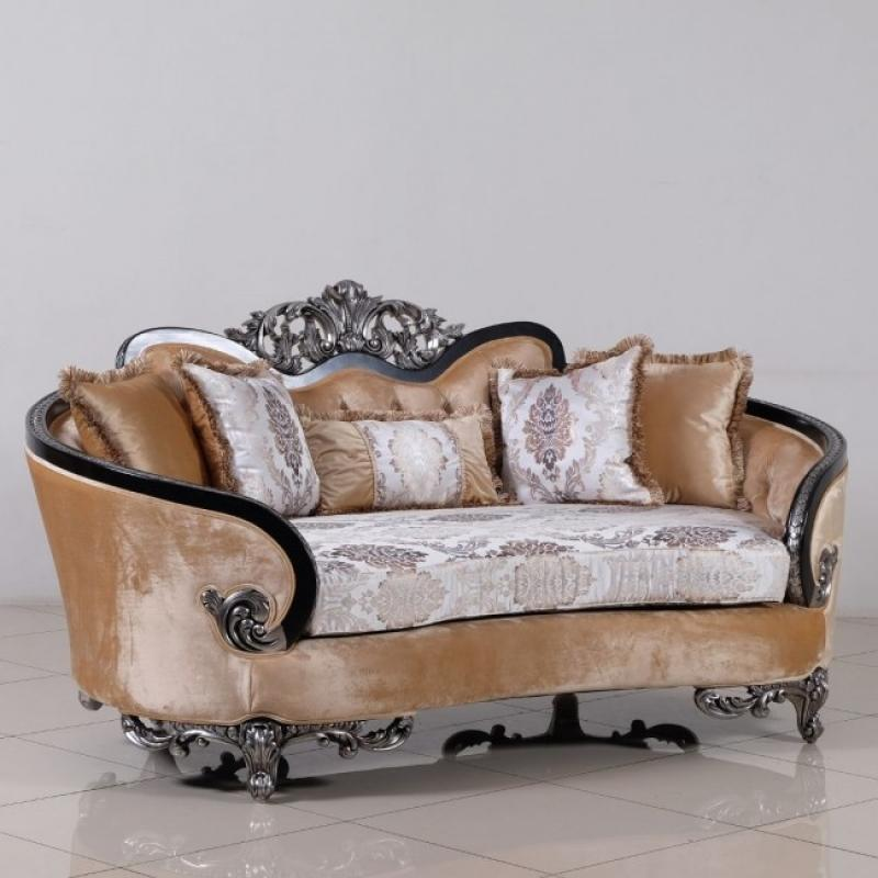 Classic  Traditional Black  Silver  Antique Wood  Solid Hardwood and Fabric Loveseat EUROPEAN FURNITURE 35022-L