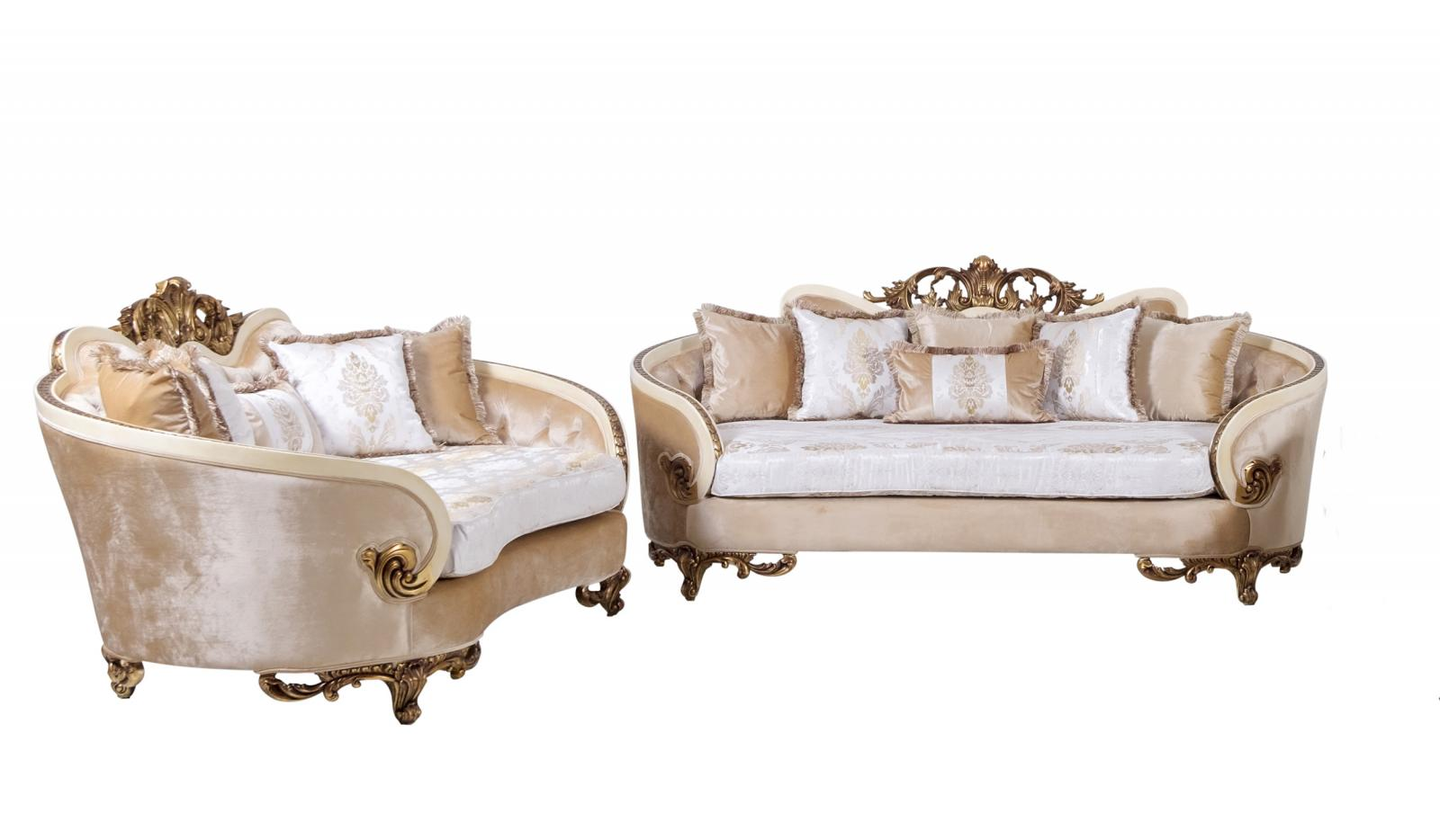 Classic  Traditional Gold  Antique   Beige Wood  Solid Hardwood and Fabric Sofa Set EUROPEAN FURNITURE 36031-S-Set-2