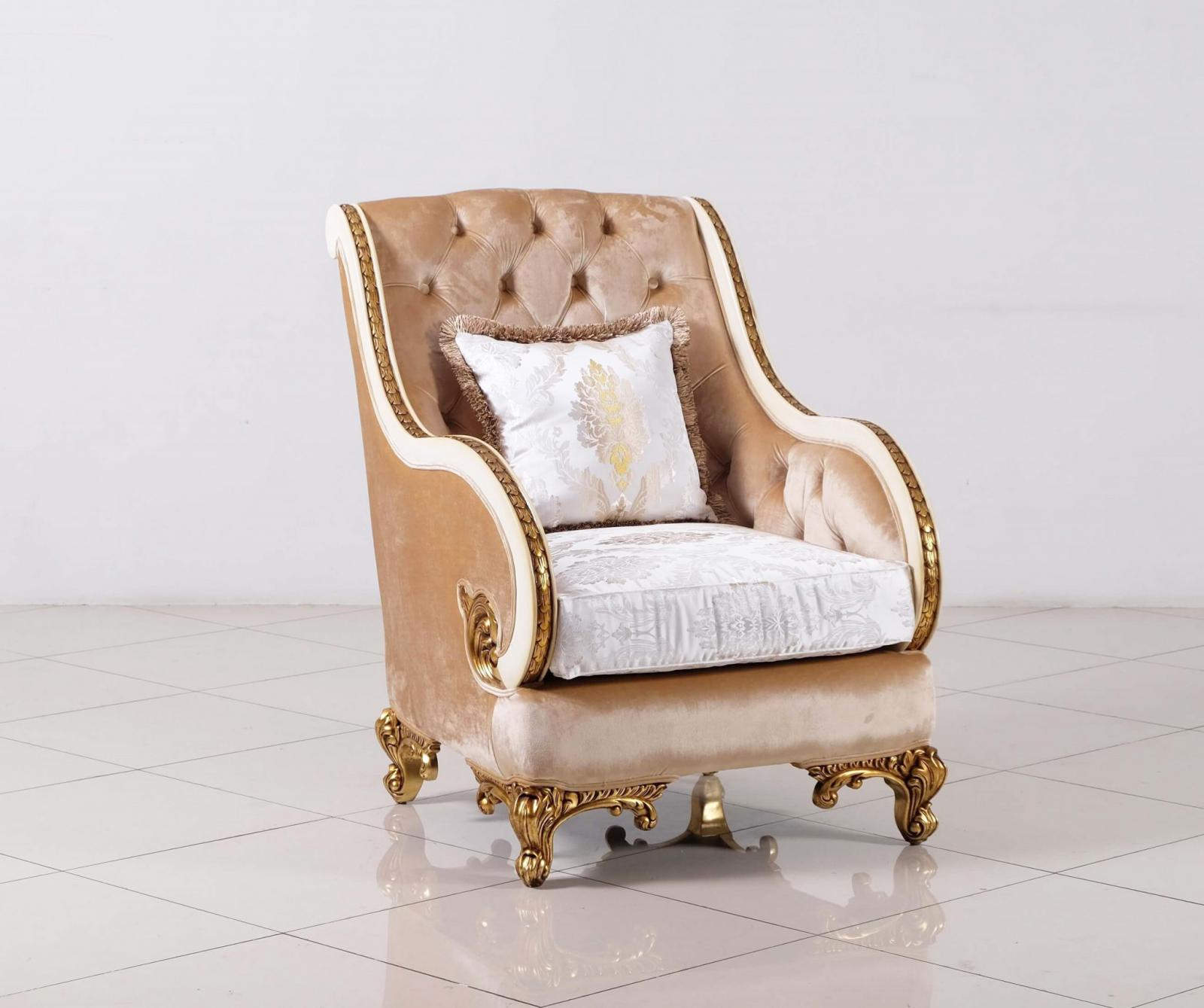 Classic  Traditional Gold  Antique   Beige Wood  Solid Hardwood and Fabric Arm Chair EUROPEAN FURNITURE 36031-C