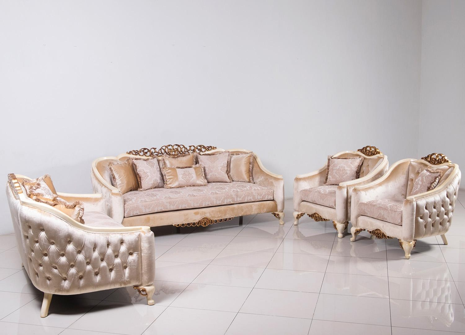 Classic  Traditional Beige  Gold  Antique  Pearl Wood  Solid Hardwood and Fabric Sofa Set EUROPEAN FURNITURE 45350-S-Set-4
