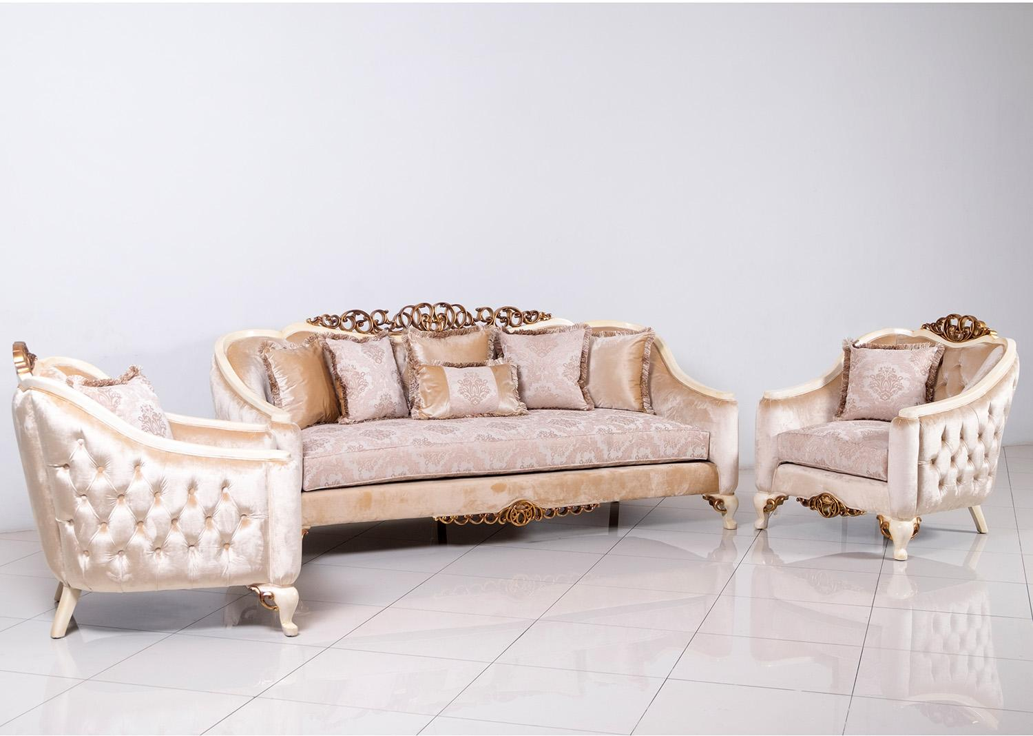 Classic  Traditional Beige  Gold  Antique  Pearl Wood  Solid Hardwood and Fabric Sofa Set EUROPEAN FURNITURE 45350-S-Set-3
