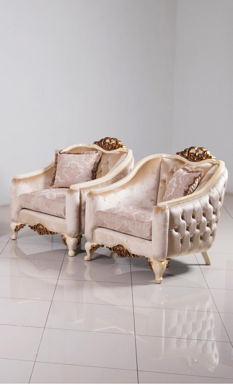 Classic  Traditional Beige  Gold  Antique  Pearl Wood  Solid Hardwood and Fabric Arm Chair Set EUROPEAN FURNITURE 45350-C-Set-2