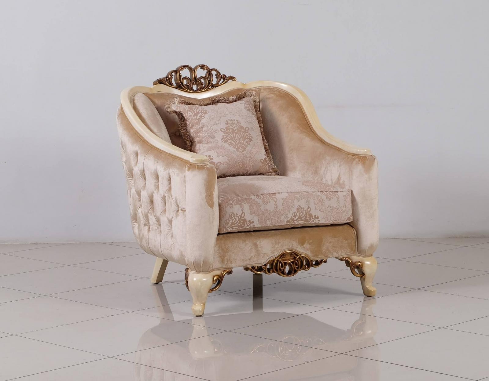 Classic  Traditional Beige  Gold  Antique  Pearl Wood  Solid Hardwood and Fabric Arm Chair EUROPEAN FURNITURE 45350-C