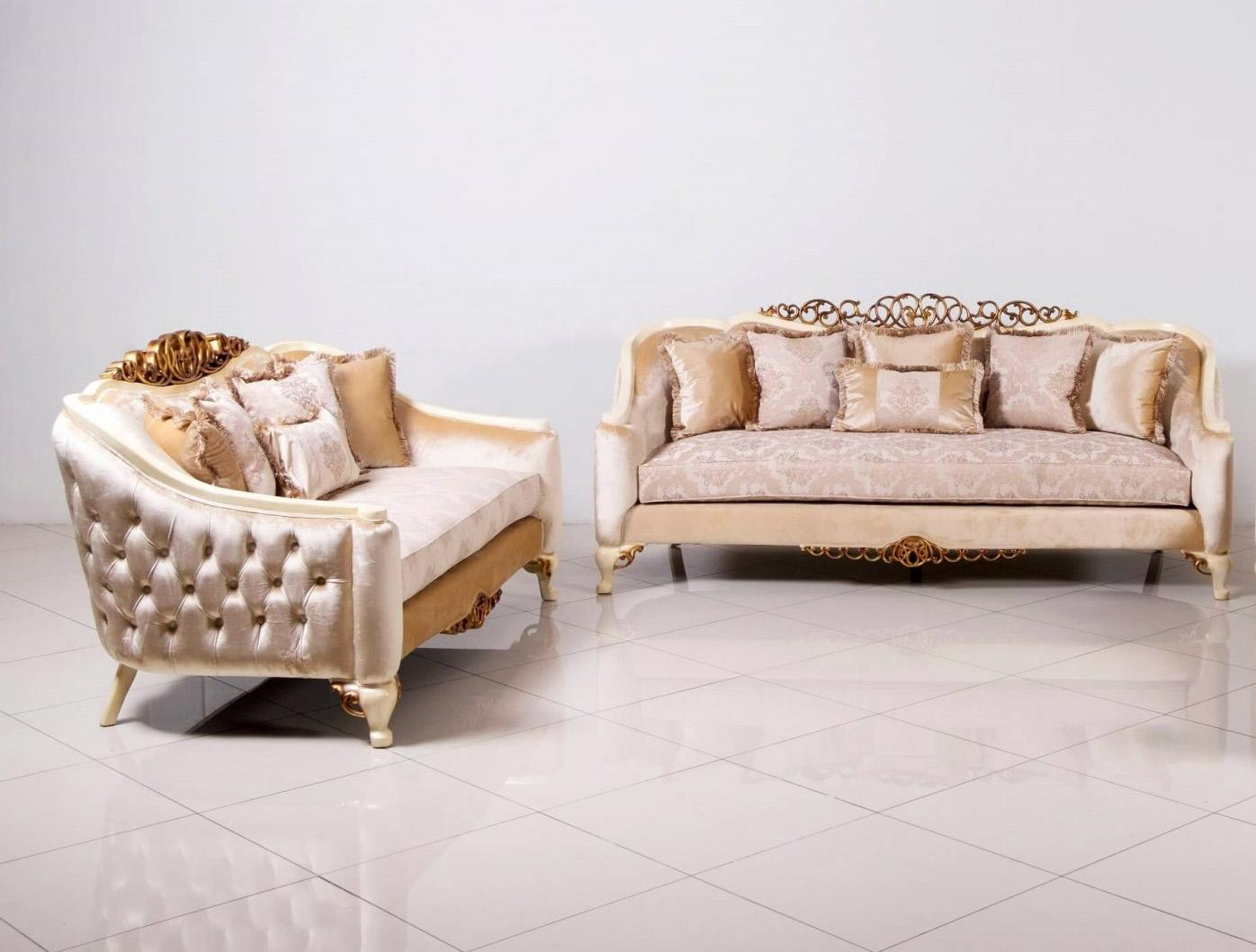Classic  Traditional Beige  Gold  Antique  Pearl Wood  Solid Hardwood and Fabric Sofa Set EUROPEAN FURNITURE 45350-S-Set-2