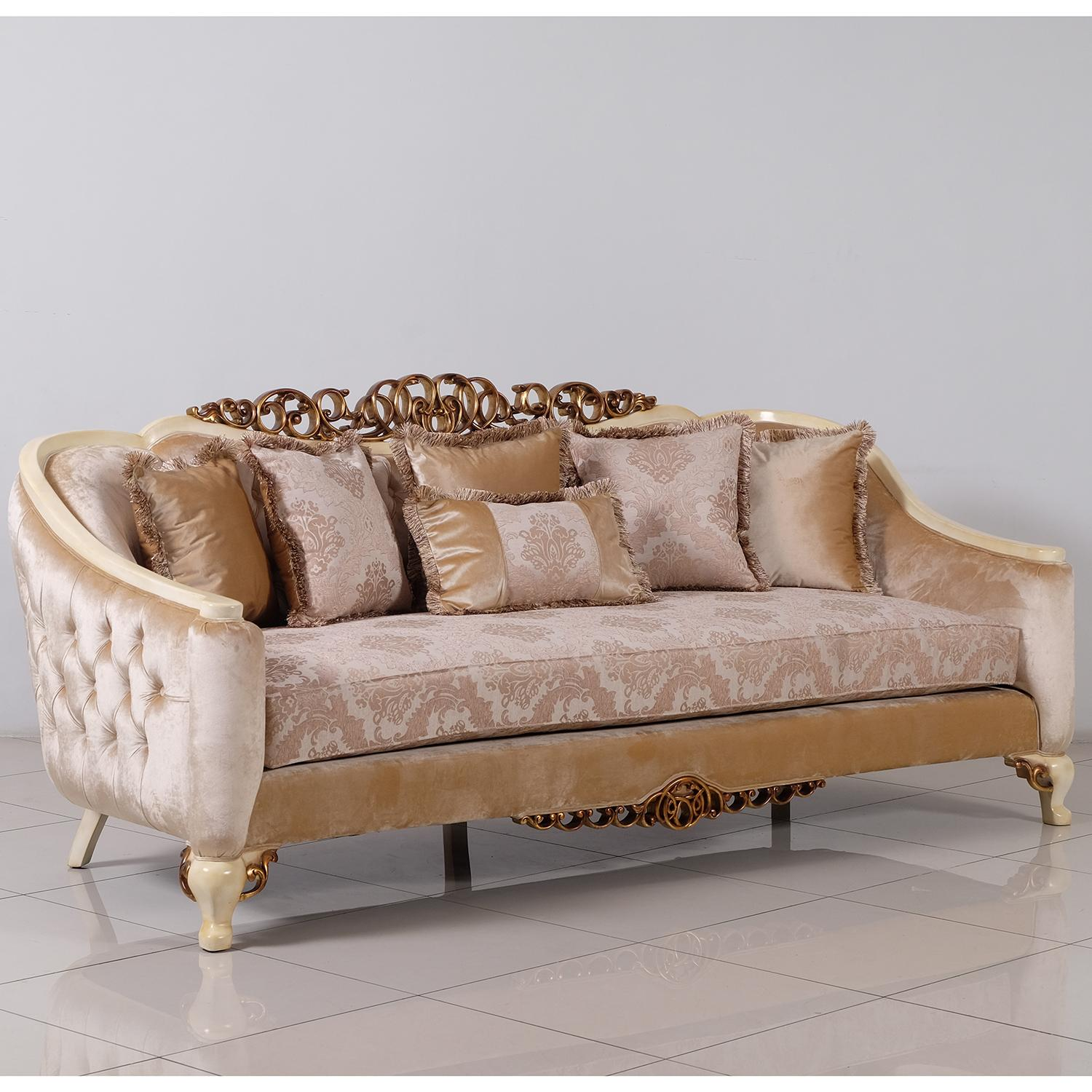 Classic  Traditional Beige  Gold  Antique  Pearl Wood  Solid Hardwood and Fabric Sofa EUROPEAN FURNITURE 45350-S