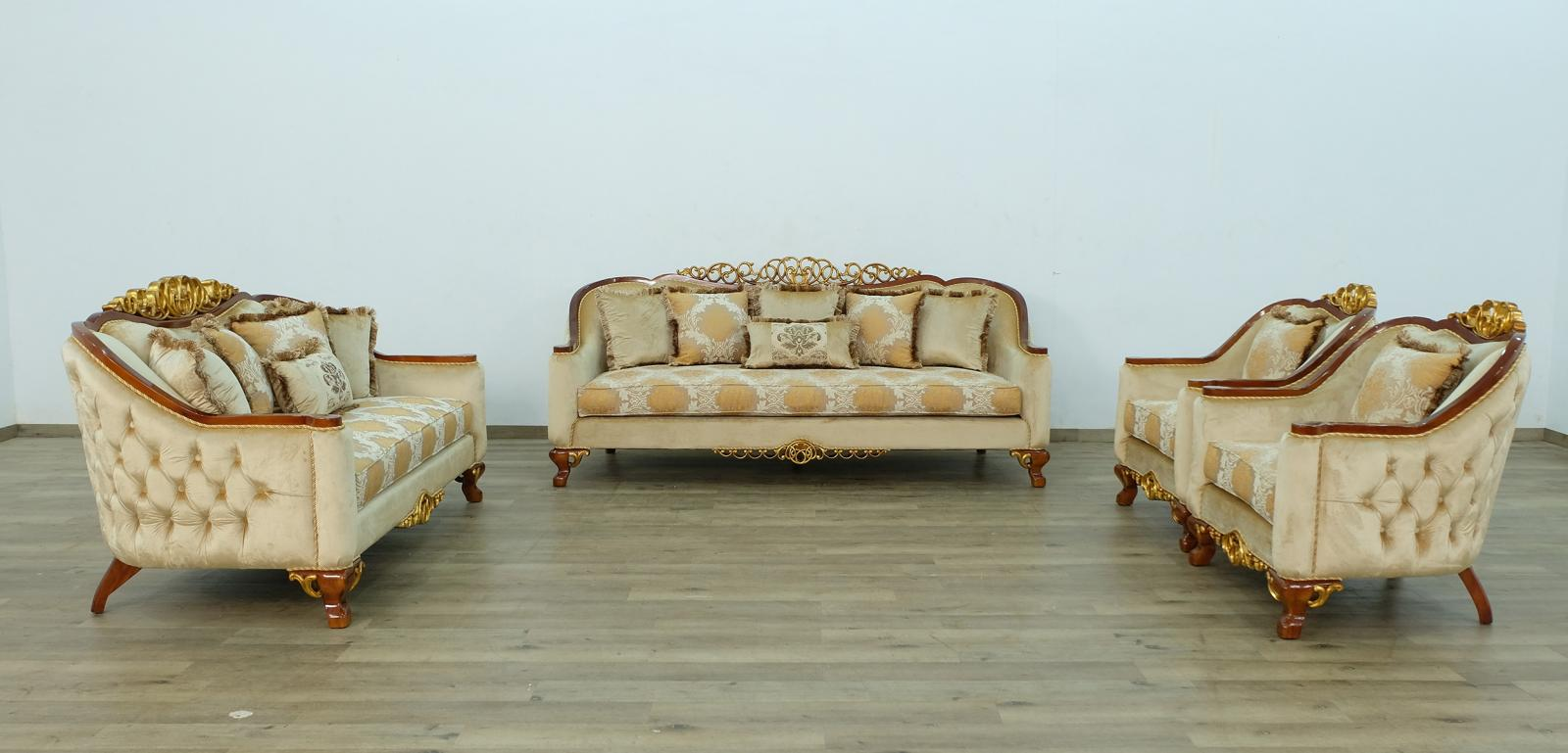 Classic  Traditional Brown  Gold Wood  Solid Hardwood and Fabric Sofa Set EUROPEAN FURNITURE 45354-S-Set-4