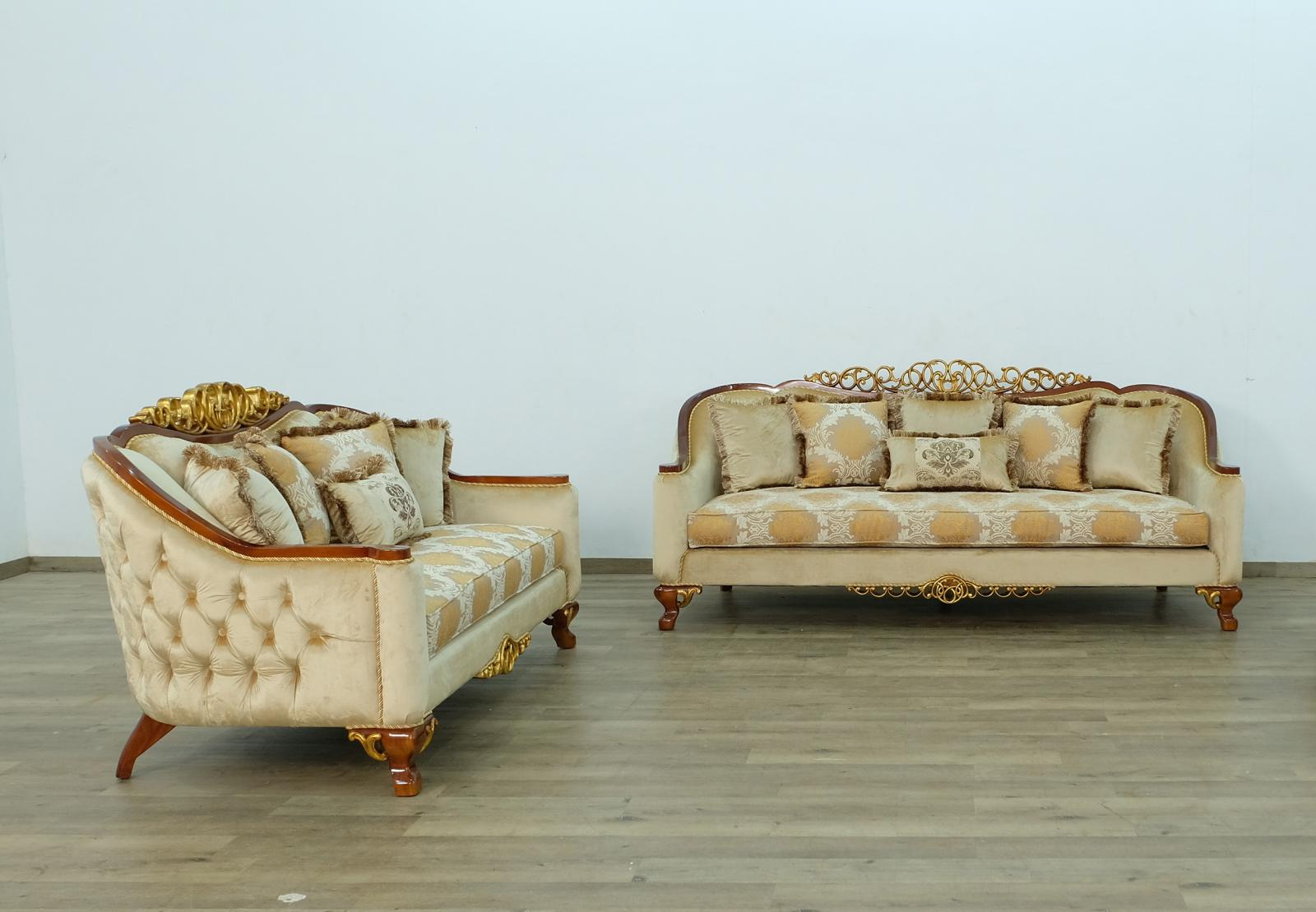 Classic  Traditional Brown  Gold Wood  Solid Hardwood and Fabric Sofa Set EUROPEAN FURNITURE 45354-S-Set-2