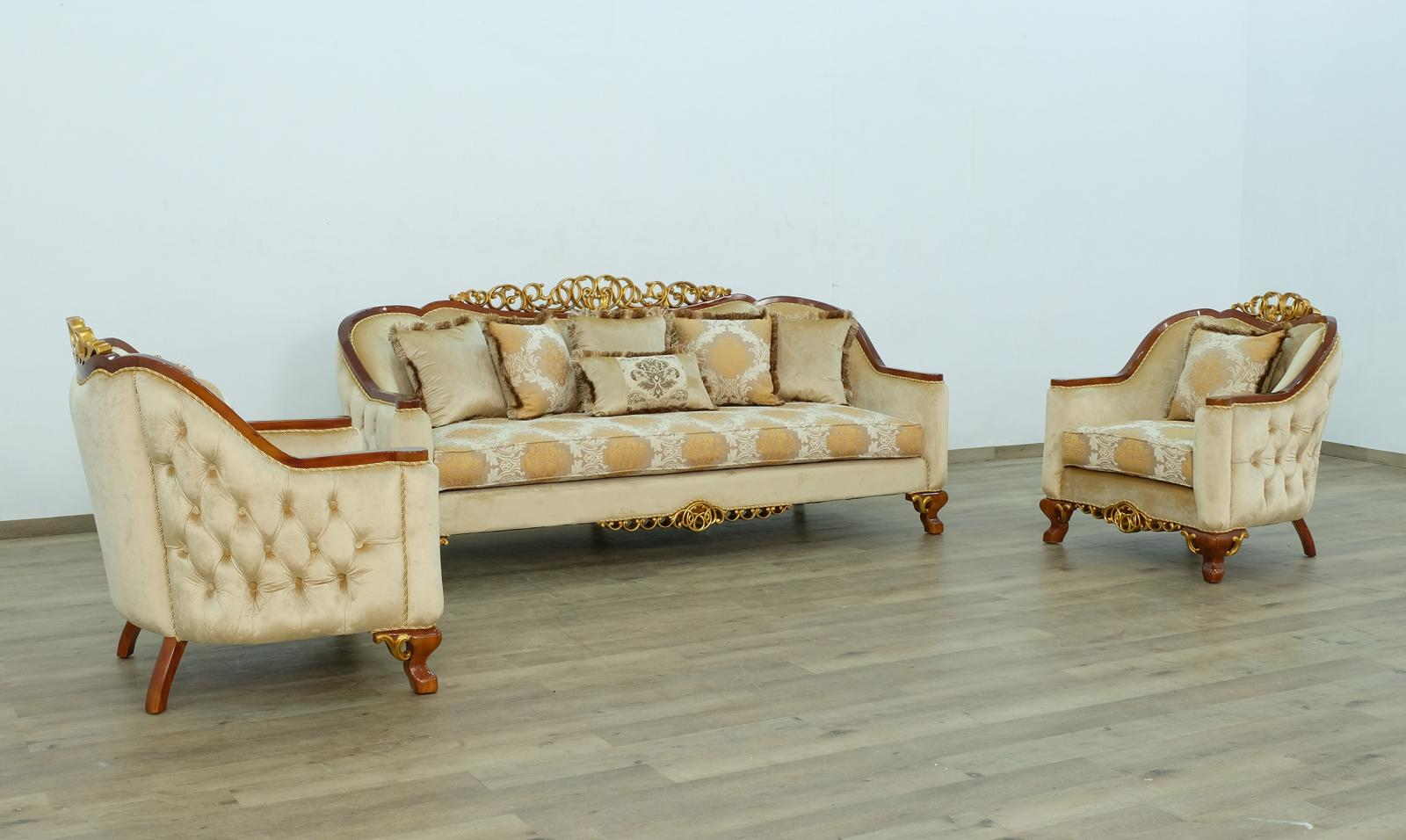 Classic  Traditional Brown  Gold Wood  Solid Hardwood and Fabric Sofa Set EUROPEAN FURNITURE 45354-S-Set-3