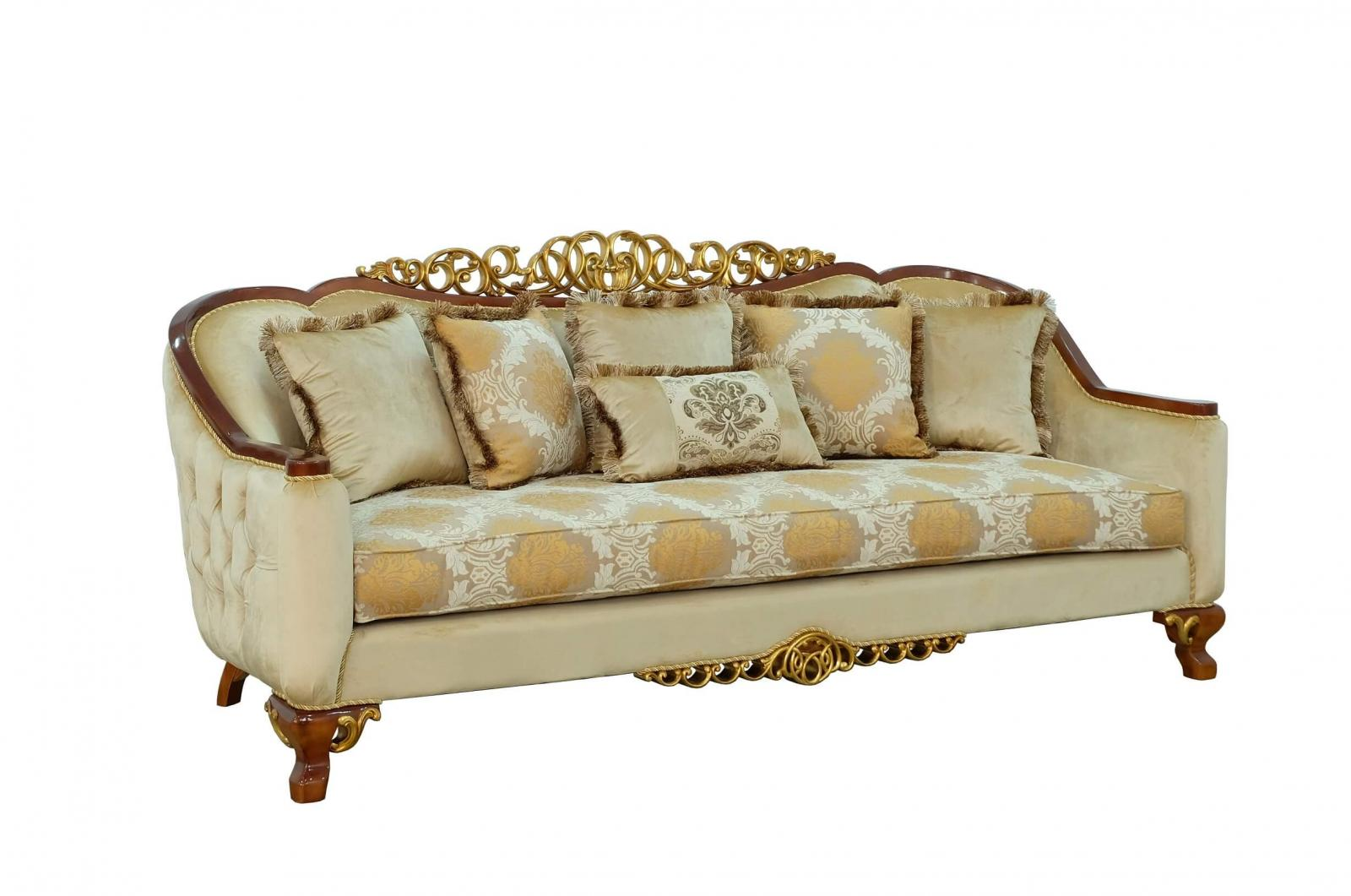 Classic  Traditional Brown  Gold Wood  Solid Hardwood and Fabric Sofa EUROPEAN FURNITURE 45354-S