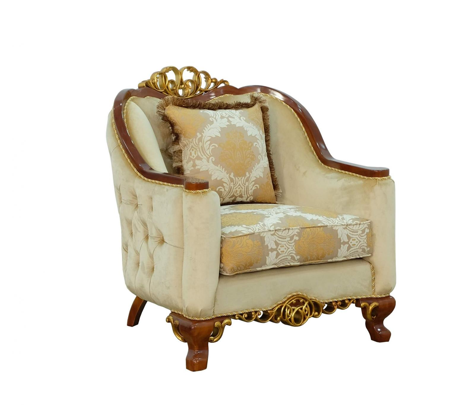 Classic  Traditional Brown  Gold Wood  Solid Hardwood and Fabric Arm Chair EUROPEAN FURNITURE 45354-C