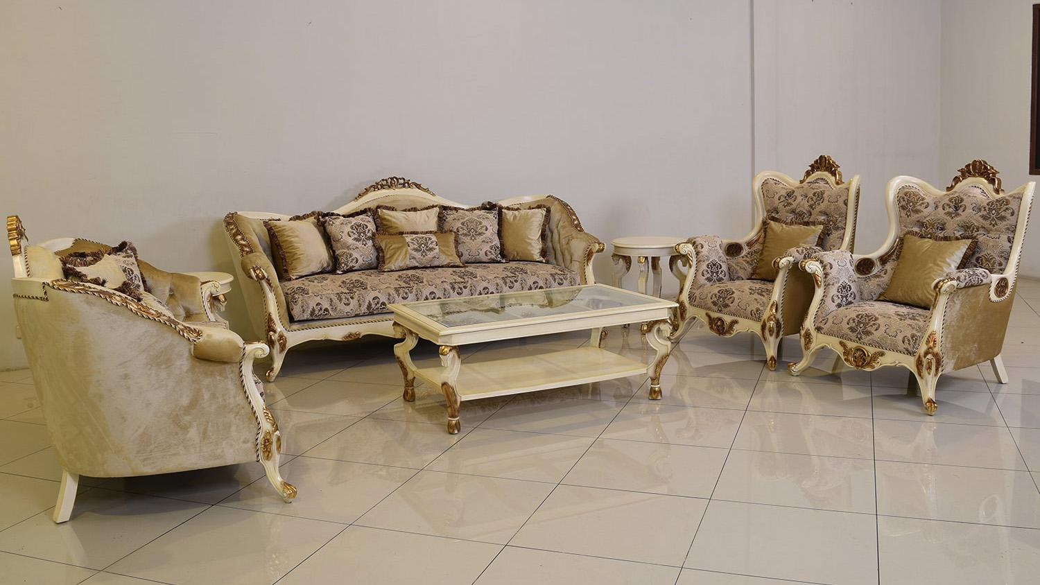 Classic  Traditional Beige  Gold  Antique Wood  Solid Hardwood and Fabric Sofa Set EUROPEAN FURNITURE 37008-S-Set-4