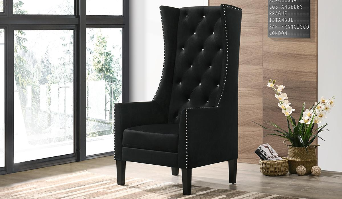 Transitional Black Velvet Arm Chairs 1 pcs Cosmos Furniture 3037BLKHOL
