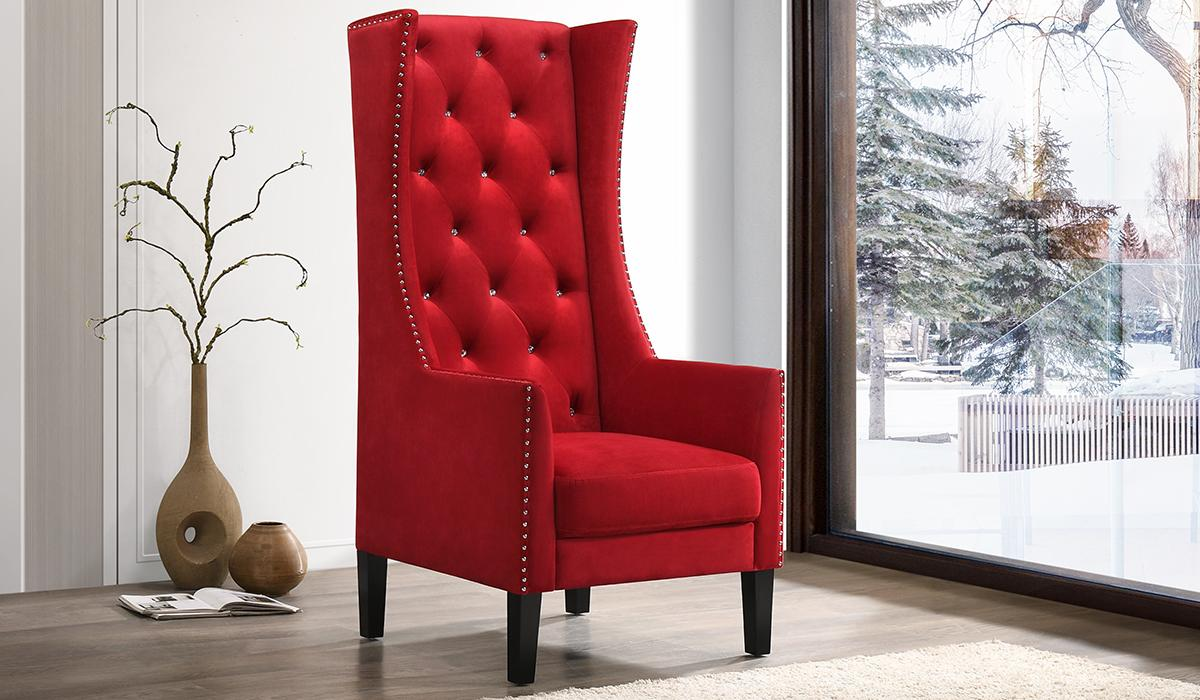 Transitional Red Velvet Arm Chairs 1 pcs Cosmos Furniture 3037REDHOL