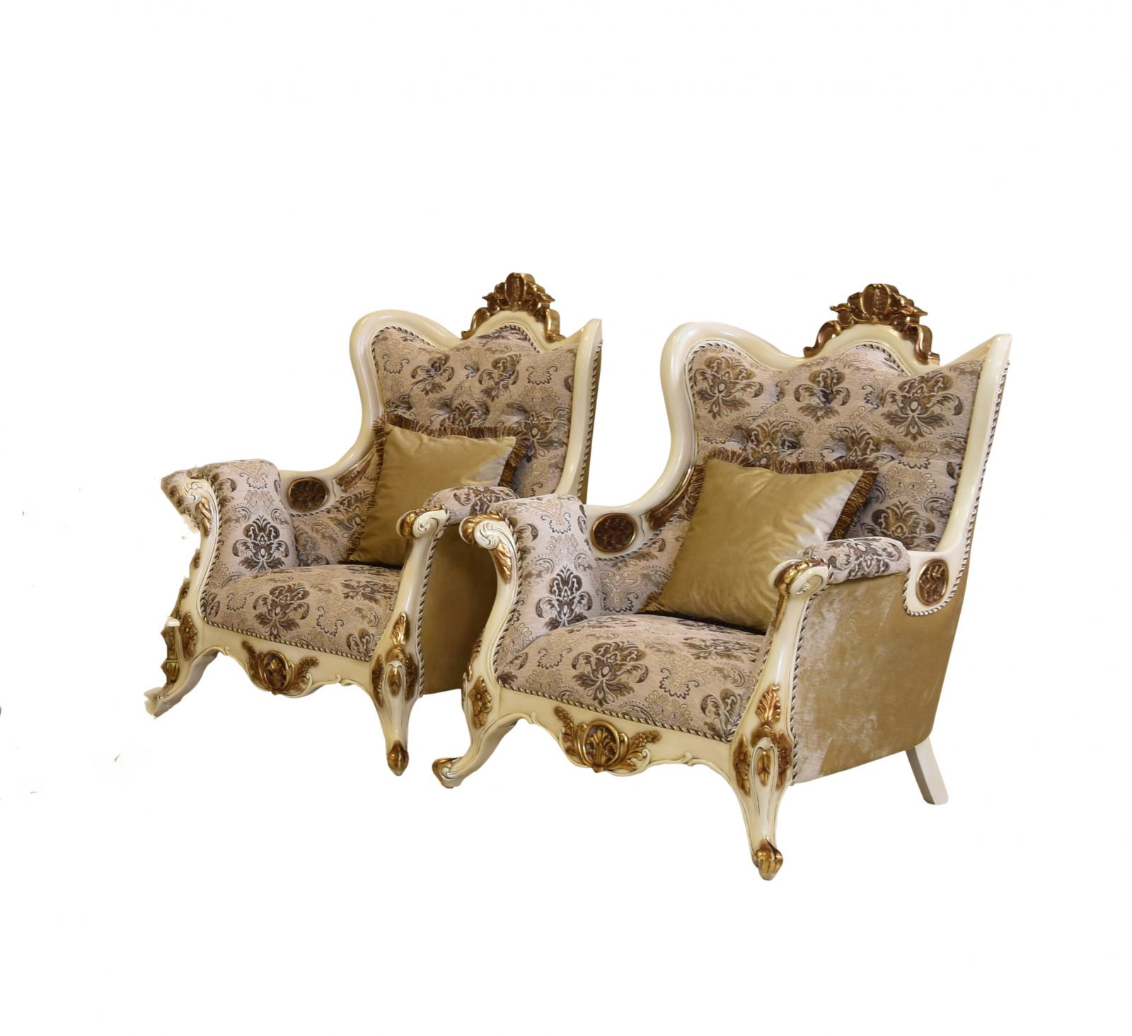 Classic  Traditional Beige  Gold  Antique Wood  Solid Hardwood and Fabric Arm Chair Set EUROPEAN FURNITURE 37008-C-Set-2