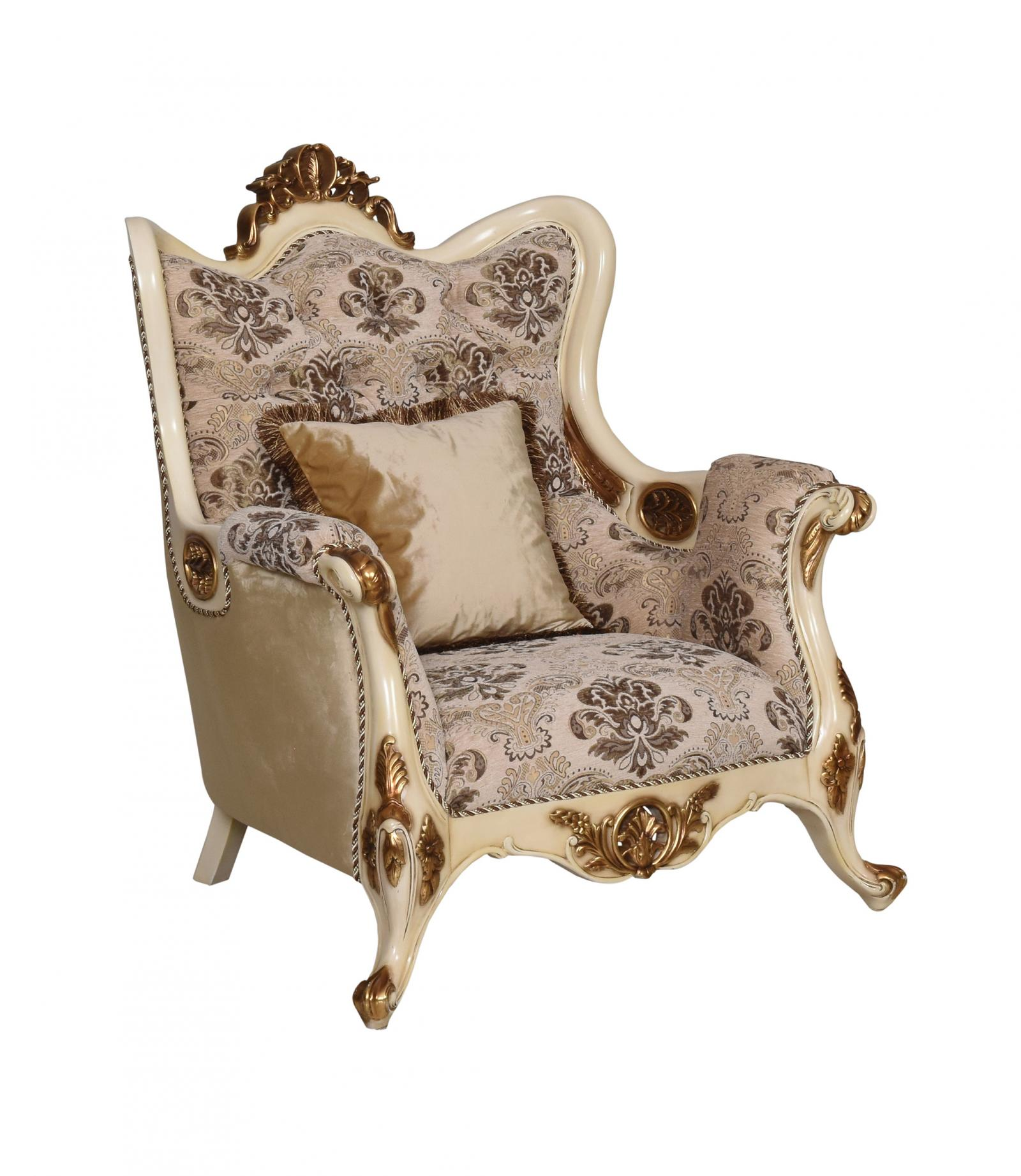 Classic  Traditional Beige  Gold  Antique Wood  Solid Hardwood and Fabric Arm Chair EUROPEAN FURNITURE 37008-C