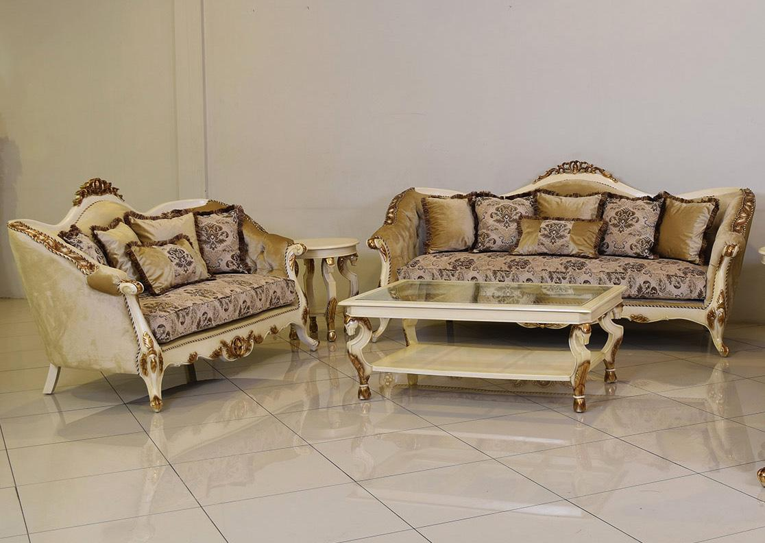 Classic  Traditional Beige  Gold  Antique Wood  Solid Hardwood and Fabric Sofa Set EUROPEAN FURNITURE 37008-S-Set-2